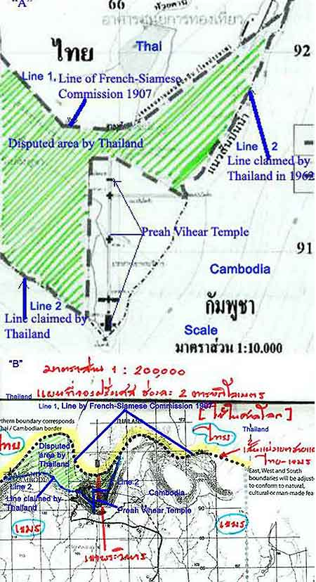 Thai Internal Working Document – (L)The Official Thai Map (Scale 1:10,000),(R)The French-Siamese Commission Map Made in 1907 (Scale: 1:200,000)
