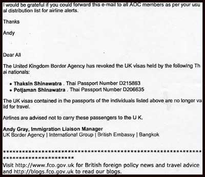 UK cancels visas of Thaksin and Potjaman !!   Thai Political
