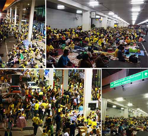 Protesters at the Don Muang Airport
