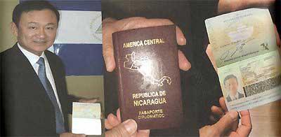 Thaksin with his Nigaraguan passport
