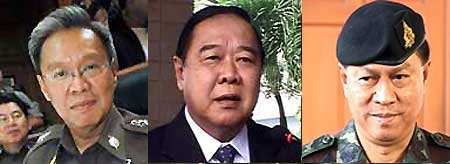 Police chief, Patcharawat Wongsuwan, General Prawit Wongsuwan and General Anupong Paochinda