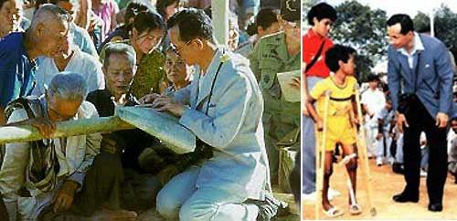 Historical photos: Left: HM is consulting Isaan senior villagers over a map  Right: HM chats with a disabled=