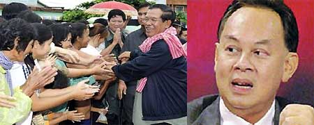 (L) Hun Sen in Siam Reap province of Cambodia, (R) Kasit Pirom, Thai foreign affairs minister
