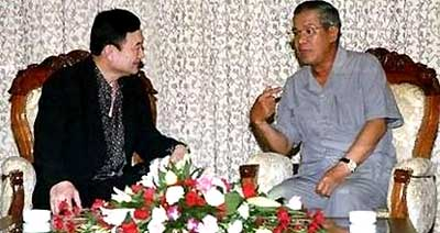 Prime Minister Hun Sen has offered the fugitive ex-premier a home in Cambodia, according to Puea Thai Party chairman Chavalit Yongchaiyudh - extending the friendship shown during this 2008 Thaksin visit to Phnom Penh